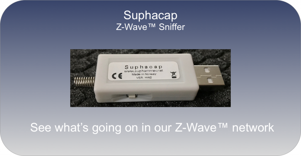 Suphacap is a USB stick to see all Z-Wave traffic near by you (not only your network).